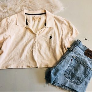 Crop Off White Collared  Polo Top